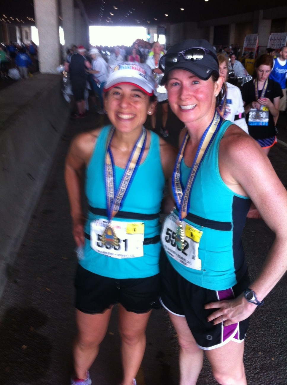 """Doublemint"" twins at the finish- purely an accident but we worked it!"