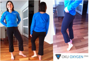 Yours truly in OKU Oxygen Boot Cut 3/4 length pants. Photos by the husband.