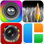 Clockwise: Be Funky, Color Effects, Pic Stitch and Leme Camera