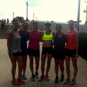 Post fun run group shot. From left Olivia, Alex, Stacy. Lauren, me and Kristin.